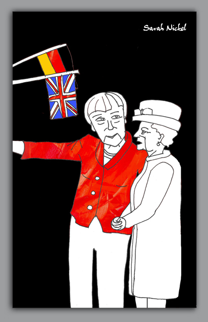london_sarah_nickel_20_queen_merkel_red_besuch_visit_berlin_2015_black_white_rot_schwarz_weiß_zeichnungen_illustration