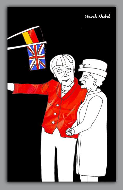 london_sarah_nickel_20_queen_merkel_red_besuch_visit_berlin_2015_black_white_rot_schwarz_weiß_zeichnungen_illustration