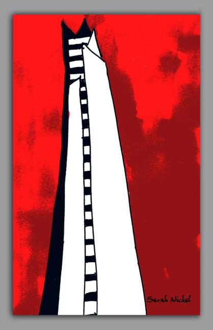 london_sarah_nickel_23_theshard_shard_red_black_white_rot_schwarz_weiß_zeichnungen_illustration