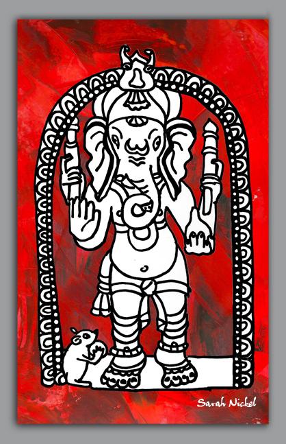 london_sarah_nickel_24_ganesha_hindu_tempel_red_black_white_rot_schwarz_weiß_zeichnungen_illustration_schwarz